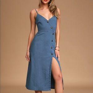 Lulus Good Day Sunshine Chambray Midi Dress